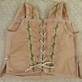 Antique original French soft pink dolls corset
