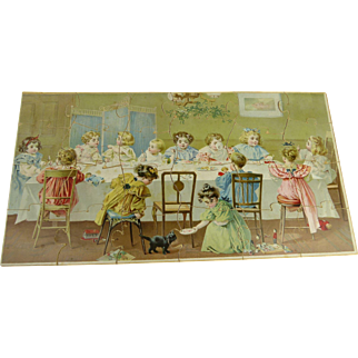 """Antique stunning  """"Tea Party""""  Jig Saw  Puzzle from  – Parker Brothers – Salem  - Mass – USA from the end of the nineteenth century."""