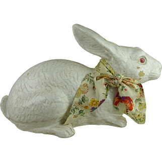 LIFE SIZE Antique French terracotta Faience Bunny - Mesnil de Bavent Pottery of Normandy - from 1890
