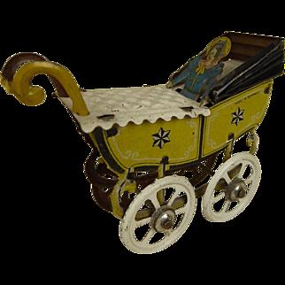 Wonderful rarest  Penny Toy Doll Carriage/Pram from Meier, Germany, 1900