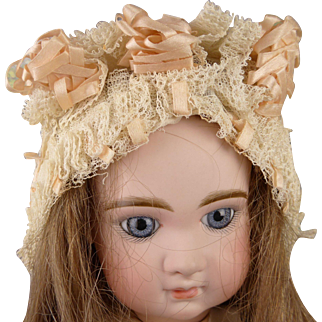 Superb ivory and pink  antique original factory made doll bonnet late nineteenth century