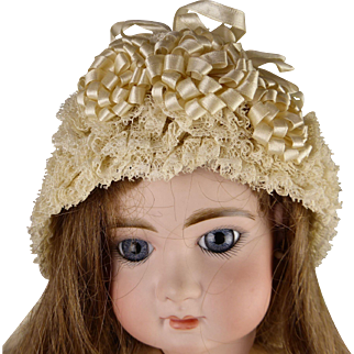 Original antique exquisite French ivory lace and gauze dolls bonnet in mint condition from appr. 1890