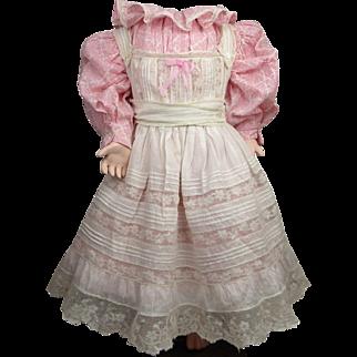 Original antique French batiste Pinafore with pink patterned original antique Dress, appr. 1900