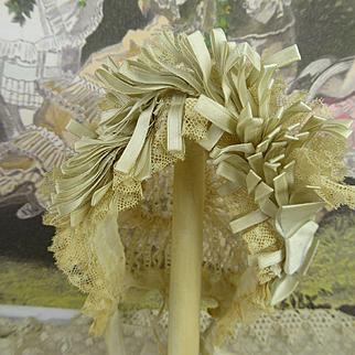 Exquisite antique French original factory-made Jumeau lace bonnet  appr. 1890
