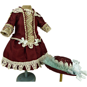 French burgundy silk one-piece couturier antique dolls dress with matching burgundy straw hat for Jumeau, Bru, Steiner, Gaultier or other Bébé
