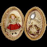 Marvelous Original Antique wicker egg/presentation box with all bisque five-piece  mignonette doll