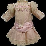 Wonderful French pink batiste and dotted gauze antique dolls dress for Jumeau, Bru, Gaultier, Steiner or other Bébé