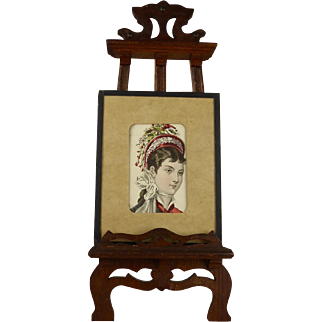 Antique Victorian Oak Easel Stand from appr.1880 for your Fashion doll or antique Bébé