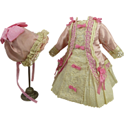 Wonderful French pink silk, lace and embroidered batiste antique dolls couturier one-piece dress with matching hat for antique Bébé