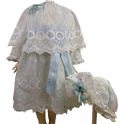 Original antique French white tulle lace dress with capelet, attached aqua under dress and tulle bonnet.