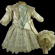 Exquisite aqua silk French antique dolls one-piece couturier dress with beautiful antique  bonnet