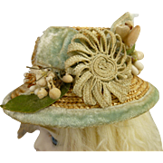 Small antique French very fine straw hat for a fashion doll or Bébé