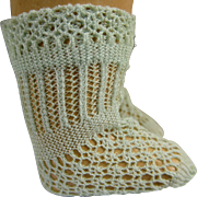 Pair of French turquiose fine cotton open weave antique dolls  socks