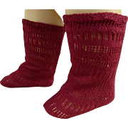 Pair of French burgundy fine cotton open weave antique dolls  socks
