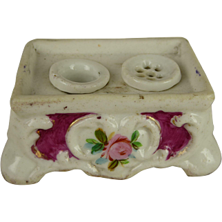 Sweet Antique French flowered porcelain dolls inkwell for fashion doll or Bébé