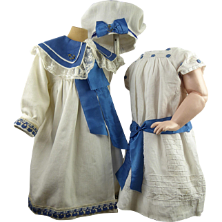 Antique  white and blue  three-piece doll sailor ensemble, coat, dress and beret appr. 1890.