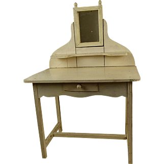 Original antique French white wooden toilette table/ wash stand from appr. 1900