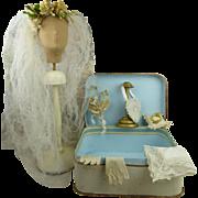 """Original antique presentation box with bridal accessories, """"Parure de Mariée""""  from appr. 1870 for your Fashion doll or Bébé."""
