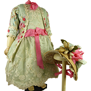 Luxurious French aqua flowered and striped couturier antique doll dress with matching wired bonnet for Jumeau, Bru, Steiner, Gaultier or other Bébé