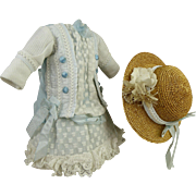 French tiny couturier blue satin, white pique and dotted batiste antique dolls dress with a matching fine straw bonnet Bru, Steiner, Jumeau, Gaultier