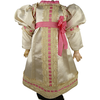 Wonderful French ivory silk antique doll dress with beautiful interwoven  lace