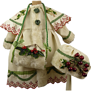 Exquisite French three-piece antique doll Christmas Ensemble, a Coat, Bonnet and Muff