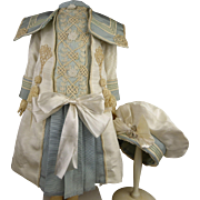 Beautiful French white silk and light-blue silk mariner/sailor antique dolls dropped waist dress with a matching bonnet.