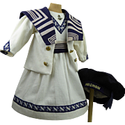 French white pique mariners/sailors dolls costume with exceptional blue collar, white pique dress and beautiful blue beret.