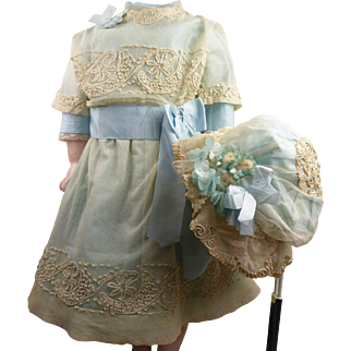 Antique original French tulle dress and matching bonnet with rich embroidery appr. 1890