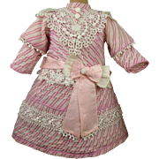 Wonderful French pink striped and tucked fine cotton antique dolls dress with matching bonnet for Jumeau, Bru, Steiner, Gaultier or other French Bébé
