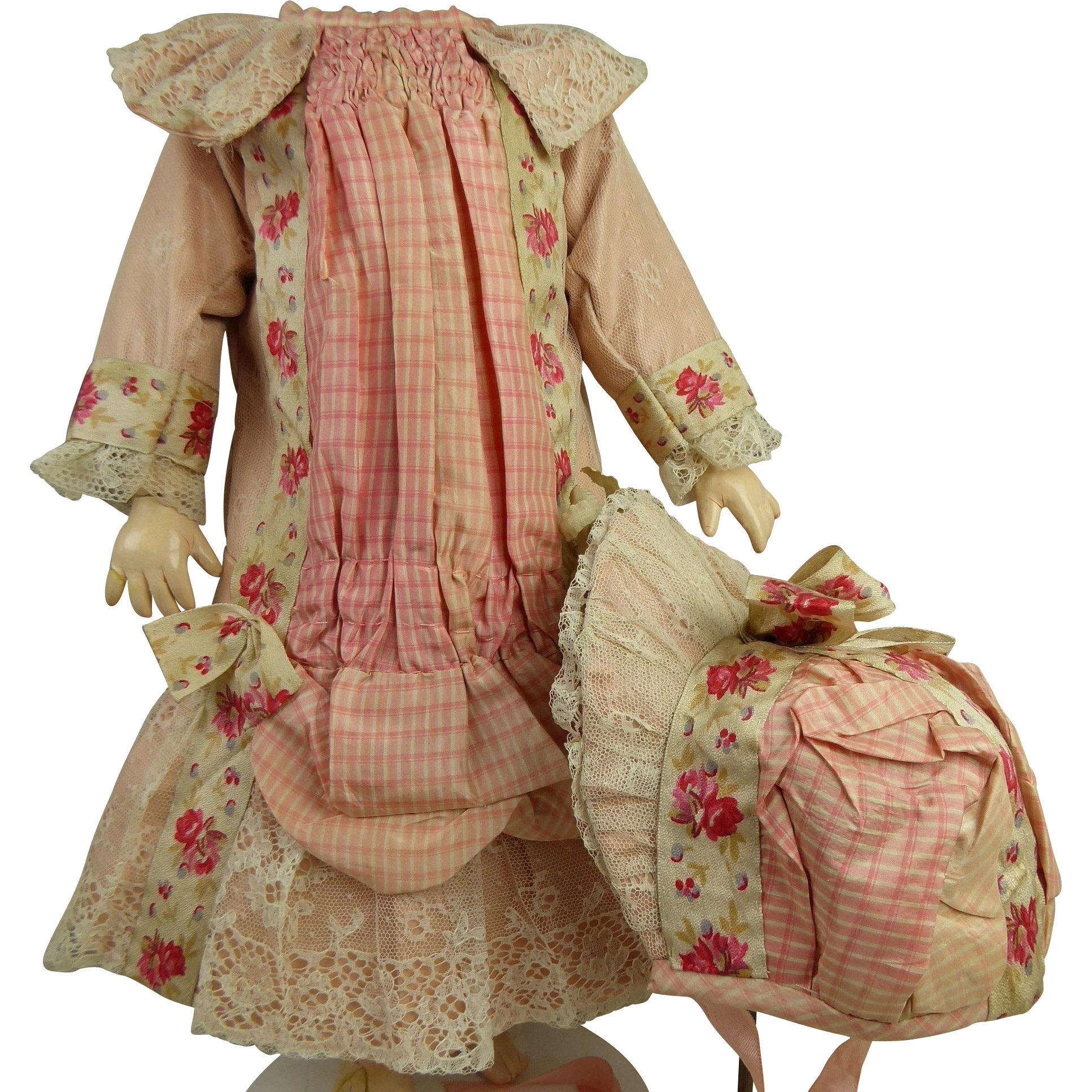 French pink satin and checkered lace one-piece couturier antique doll dress with matching bonnet for Jumeau, Bru, Steiner, Gaultier or other Bébé