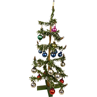 """Antique Original German Feather Christmas Tree with glass balls and candles 14,2"""""""