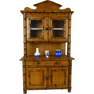 Antique original faux-bamboo kitchen cabinet/chest  from the late 19th century.