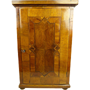 Very refined original antique Biedermeier dolls wardrobe/chest with beautiful marquetry, appr. 1850 for an early doll or fashion doll