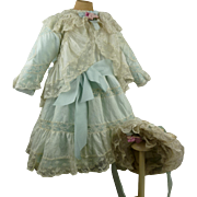 Sweet silk and lace antique French doll dress with matching bonnet for a Jumeau, Bru, Steiner, Gaultier or other Bébé