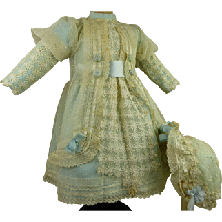 French ivory dotted gauze and light blue satin antique dolls dress with matching bonnet for Jumeau, Bru, Steiner, Gaultier or other antique Bébé.