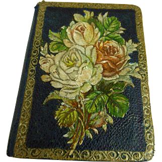 Rare and irresistable original antique Victorian miniature needle case book, registered 1879 for your fashion doll or Bébé