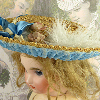 French antique fine straw hat for your Bébé or Fashion doll