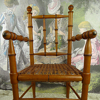 Antique original French faux bamboo armed dolls chair of appr. 1890 in mint condition