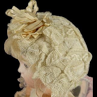 All original antique French Jumeau lace dolls bonnet appr. 1880