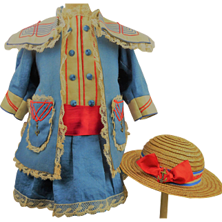 French blue satin mariners/sailors antique dolls dress with exceptional soutache-trim and matching fine antique straw hat.