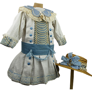 French white pique mariner/sailors antique dolls dress with exceptional insert and matching fine antique straw hat.