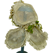 Exceptional original antique French wired dolls bonnet with panels for an early doll or a fashion doll
