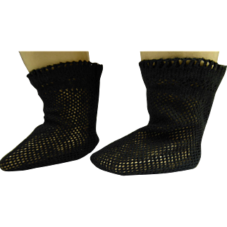 Pair of French black fine cotton open weave socks for an antique doll
