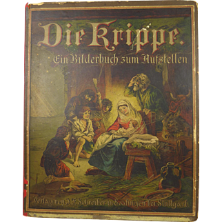 """Incredible triptyck """"Die Krippe""""- SCHREIBER – STUTTGART (The Crib) of 3 Pop-up Panels, depicting the birth of Christ,published in 1888,  Museum Quality."""