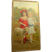 Wonderful French antique wooden doll costume presentation box appr. 1890