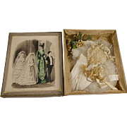 Original antique presentation box with bridal accessories  from appr. 1870 for your Fashion Doll or Bébé.