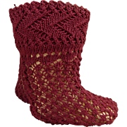 Pair of French burgundy cotton open weave socks for your antique doll