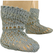 Pair of tiny French fine blue cotton open weave socks for your antique doll