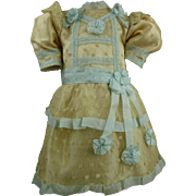 Marvelous French silk and dotted gauze dress for your Jumeau, Bru, Steiner, Gaultier or other Bébé